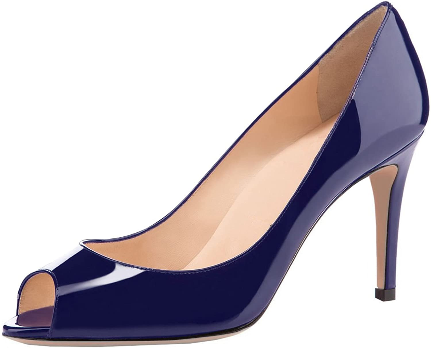 Eldof Women Peep Toe Pumps Mid-Heel Pumps Formal Wedding Bridal Classic Heel Open Toe Stiletto Navy US 7.5