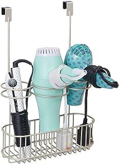 mDesign porte sèche-cheveux sans perçage – panier pour sèche-cheveux et fer à lisser en métal grillagé – rangement pour le...