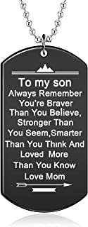 Stainless Steel Dog Tag Letters to My Son.Love mom Pendant Necklace,Inspirational Gifts for Son Jewelry