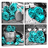 THRLVEART Bedroom Wall-Art - Wall Decor for Bedroom Women,Black and White Teal Rose Canvas Wall Art - Ready to Hang for Home Decoration 4 Pieces Framed Size 14x14 Inches
