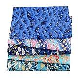 freneci 5pcs Telas de Algodón de Estilo Japonés Patchwork Craft Fabric Bundle Patchwork DIY - Tipo 3, Individual