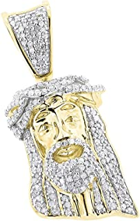 10K Solid Rose, White or Yellow Gold Mini Diamond Jesus Head Pendant 0.4ctw by JNS Luxury