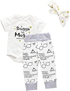 Toddler Girl's Boys Clothes, 3Pcs Infant Kids Snuggle This Mugg Romper Shorts Headband Outfits Set