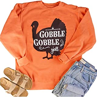 SUNFLYLIG Gobble Gobble Y'all O-Neck T-Shirt Women's Thanksgiving Fun Turkey Graphic Long Sleeve Casual Blouse Tops