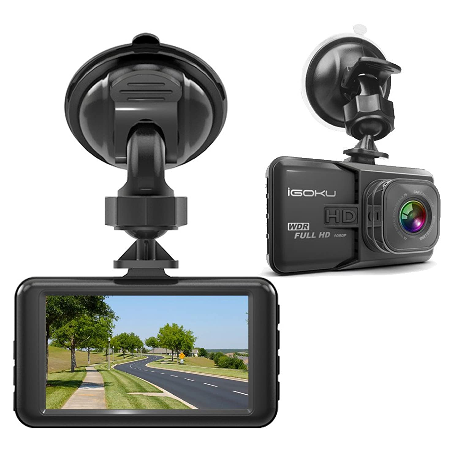 iGOKU Dash Cam 1080P Full HD 1920x1080, 170° Wide Angle, 3.0