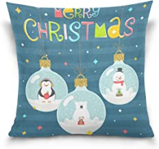 """MASSIKOA Merry Christmas Snowman Bear Decorative Throw Pillow Case Square Cushion Cover 16"""" x 16"""" for Couch, Bed, Sofa or ..."""