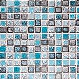 Mosaico Adhesivo de Azulejo para Cocina Baño Pegatinas de Baldosas Stickers Azulejos Azul 40X200cm