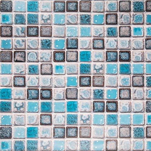Hode Klebefolie Fliesenaufkleber Dekorative Fliesenfolie 40cmX200cm (Blau) Vinyl für Badezimmer Wand Küche Wasserdicht Leicht zu Reinigen