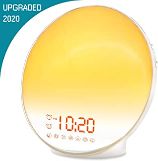 Wake Up Light Digital Alarm Clock Sleep Aid with Sunrise & Sunset Simulation for Bedroom, Bedside and Heavy Sleepers, Kids, with Dual Alarms, FM Radio, Snooze, Night Light, 7 Colors, 7 Natural Sounds