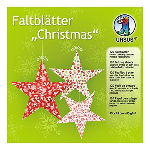 Ursus 32955–Pliable Feuilles Christmas, env. 15x 15cm, 80g/m², Assortis dans 10Designs, 120Feuilles