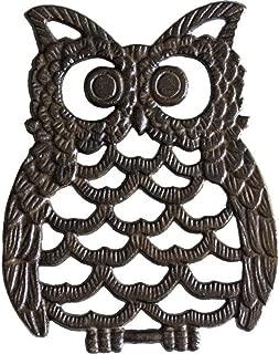 Cast Iron Owl Trivet - Decorative Trivet For Kitchen Counter or Dining Table Vintage, Rustic, Artisan Design - 7.75X6