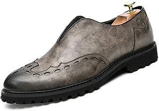 Tufanyu メンズビジネスオックスフォードカジュアルブリティッシュファッション古典的な快適なプリントブローグシューズ 丈夫 (Color : グレー, サイズ : 26 CM)