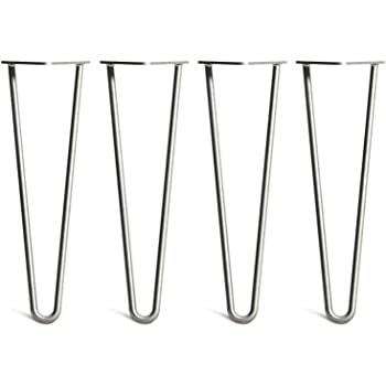 Designer Desk,Chair,Nightstand 10mm Diameter 2 Rod Mid Century Industrial Look Floor Protectors and Screws!10 Hairpin Legs Metal Steel Black for DIY Furniture Coffee//Dining Table