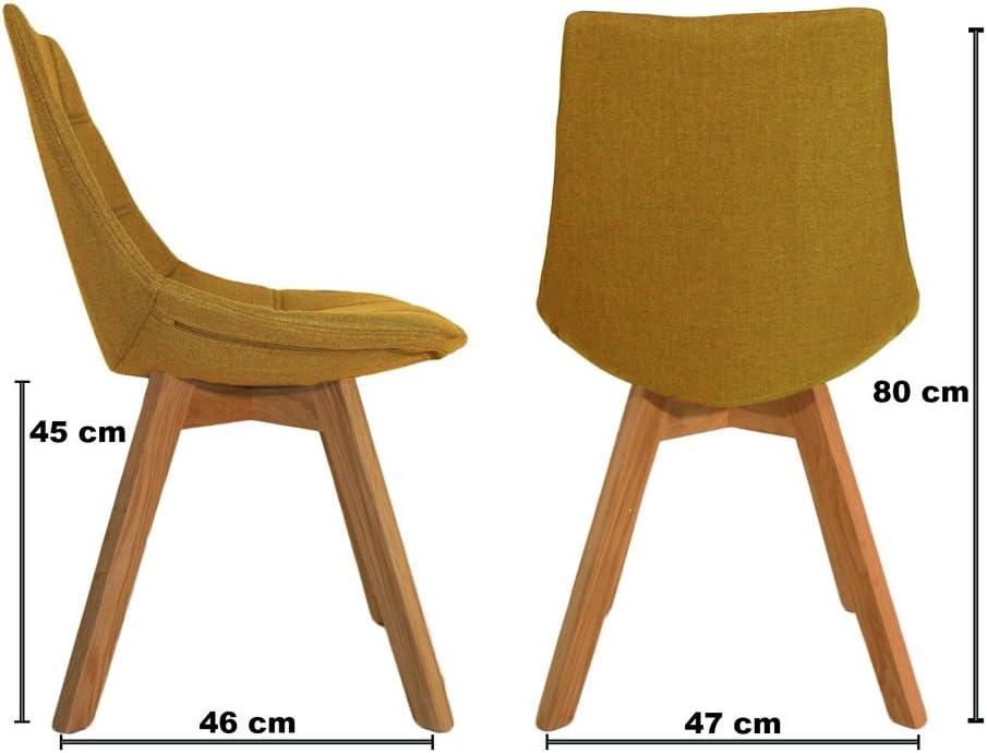 Meubletmoi Lot de 2 chaises Tendances en Tissu Gris Anthracite & piétement en Bois de chêne Massif – BETI Jaune