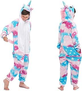 Niños Unisexo Onesies Pijamas Unicornio Arcoiris niña de una Pieza Niño Niña Animal para Franela Traje de Dormir Caliente Animal Chandal Cosplay Navidad con Capucha Onsie140#