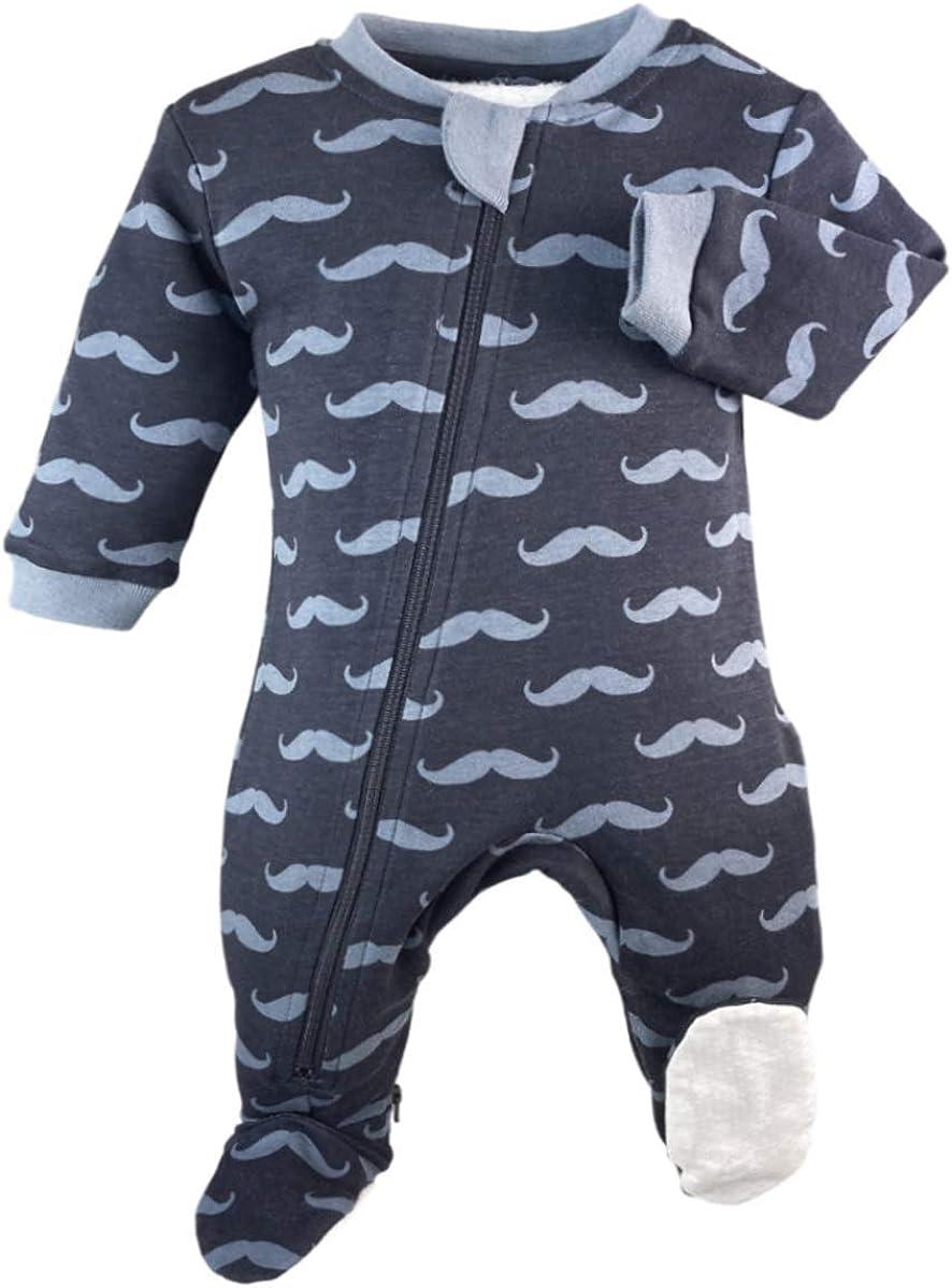 ZippyJamz Organic Zipper Onesies Footed Sleeper Baby Pajamas with Inseam Zipper