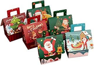 Toyvian Christmas Candy Box Cardboard Treat Boxes for Holiday Xmas Goody Gift House Shape Paper Box 18pcs