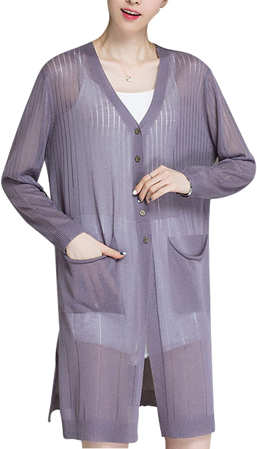 Omoone Womens Knit Sheer Cover Up Button Pocket Split Midi Long Cardigan Sweater