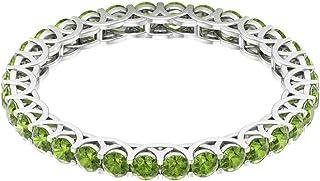 Rosec Jewels - Anillo de peridoto creado en laboratorio de 1,6 quilates, anillo de eternidad, anillo de enrejado de oro (c...
