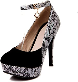 DecoStain Women's Mature Ankle Strap Thin High Heel Platform Work Shoes Party Prom Pumps