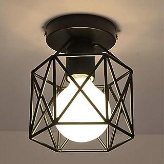 Viitech Pantalla de lámpara de jaula vintage, luz de jaula de pájaro,Lámpara de Techo Lámpara,Industrial Luz Vintage Lámpara, Colgante Luz de Pantalla Jaula de Hierro Estilo (sin bombilla)
