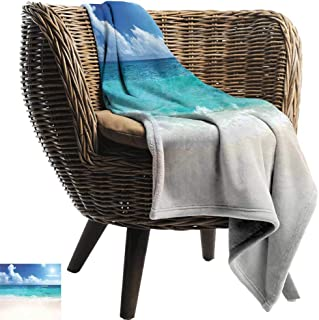 Mannwarehouse Ocean Decorative Throw Blanket Paradise Beach in Caribbean Sea with Exotic Tropical Sky Sun Calm Hot Weather Fall Winter Spring Living Room Cream Turquoise