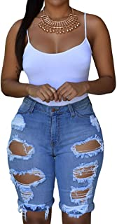 roswear Women's Ripped Denim Destroyed Mid Rise Stretchy Bermuda Shorts Jeans