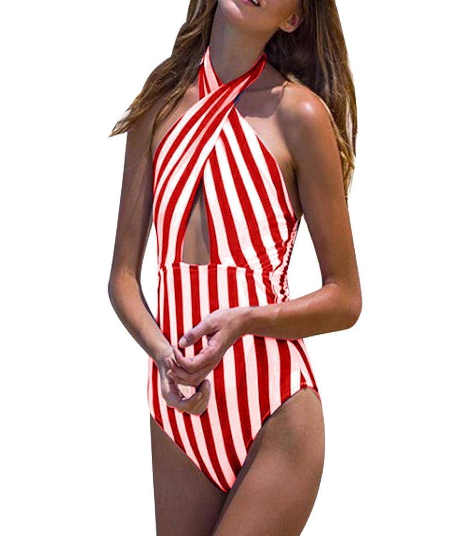 (プタス)Putars 女性プラスサイズストライプ包帯パッドブラジャービキニジャンプスーツ水着ビーチウェア
