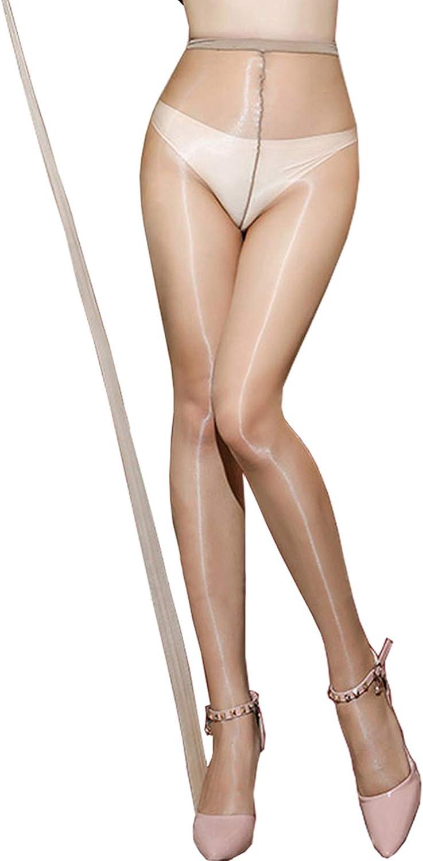 Shiny Pantyhose Women's High Waist 1 Denier Ultra Sheer Seamless Tights Microfiber Silky Stockings