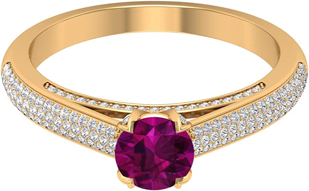 Rosec Jewels - 1.25 CT Portland Mall Rhodolite Solitaire with 5 popular Diamond Accent R