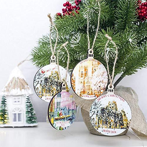 1/4 stuks kerstdecoratie, mini-hanger, kerstboom, ornament om op te hangen, van hout, decoratie om op te hangen, voor kerstboom, Kerstmis, Nieuwjaar A+b+c+d