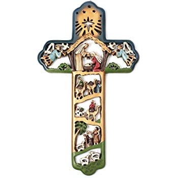 Roman Embossed Wall Cross with The Scenes from The Life Story of Christ Wood Tone Inc 8-Inch 44187