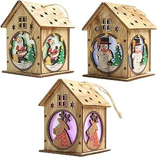 JuguHoovi 3 Pack Christmas Tree Hanging Ornaments, LED Light Wooden Hanging Ornaments for Christmas Holiday, Cute Wood House Christmas Tree Hanging Ornament Decoration