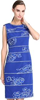 Women's Sleeveless Floral Embroidered Wear to Work Sheath Dress