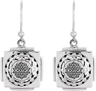 Fourseven 925 Sterling Silver Earrings | Shri Yantra Dangler Earrings for Women
