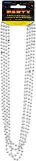 Unique Party 95130 - Metallic Silver Bead Necklaces, Pack of 4