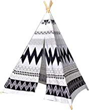 Home Equipment Kids Tent Children Playhouse Indian Tipi With Four Wood Poles Tent For Kids For Indoor Outdoor Home Gray Bl...