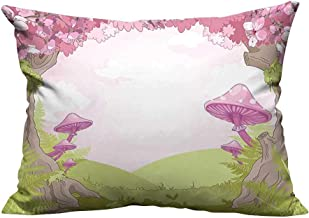 YouXianHome Zippered Pillow Covers Cherry Blossom Trees in Fairytale Land Forest Surreal Fantasy Wonderland Image Green Pink Decorative Couch(Double-Sided Printing) 19.5x26 inch