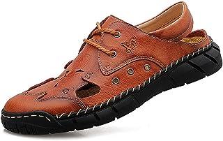 Sandales d'été, Chaussures de Plage en Cuir pour Hommes, Sandales à la Main Respirantes Baotou à Lacets adaptées à la rand...