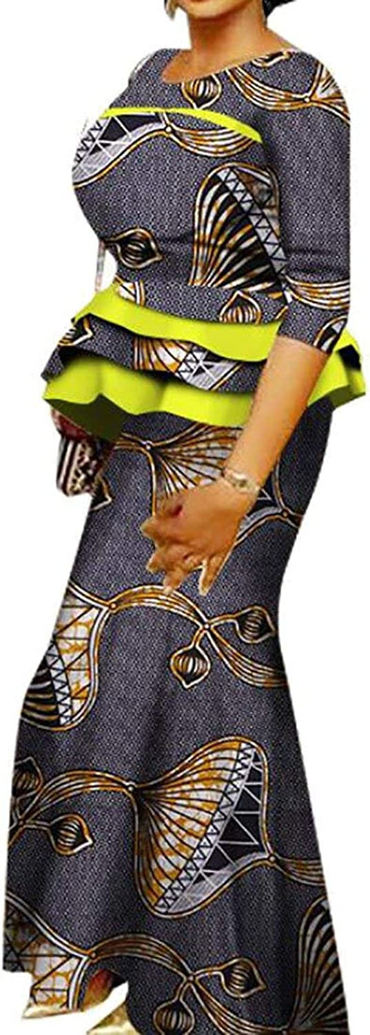 Alion Women's Sexy Fashion 3 4 Sleeve African Print Peplum Top+High Waist Maxi Skirts