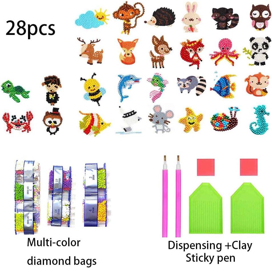 28 Pezzi,Pittura Diamante Adesivo per Bambini,Diamond Painting Animali Stickers,5D Pittura Diamante Adesivo.