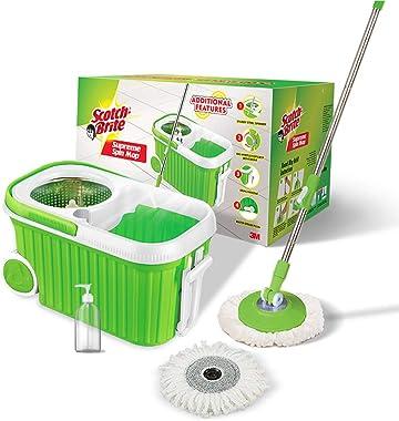 Scotch-Brite Supreme Spin Bucket Mop with Steel Spinner, Wheels, Drag Handle, Drain Plug & Dispenser (2N Microfiber Refil