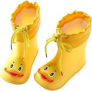Quaanti Children's Rubber Boots Baby Rain Boots Infant Kids Cartoon Waterproof Non-Slip Rainboots Rain Shoes for Boy Girl (Yellow, US:7.5(Age:3-4T))