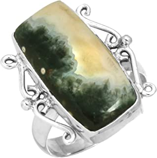 Natural Ocean Jasper Ring Solid 925 Sterling Silver Handcrafted Jewelry Size 5