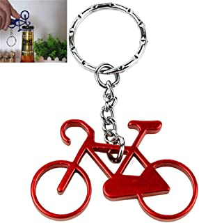 Amorly Bottle Openers-Wine Beer Opener Tool with Stainless Steel Key Rings Bicycle Keychain (red)
