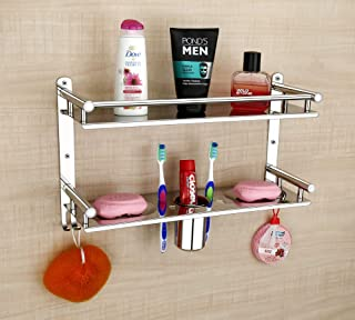OSLEN Stainless Steel Double Layer Multipurpose Use Shelf Organizer Bathroom Shelf and Rack with Double Soap Dish and Tumb...