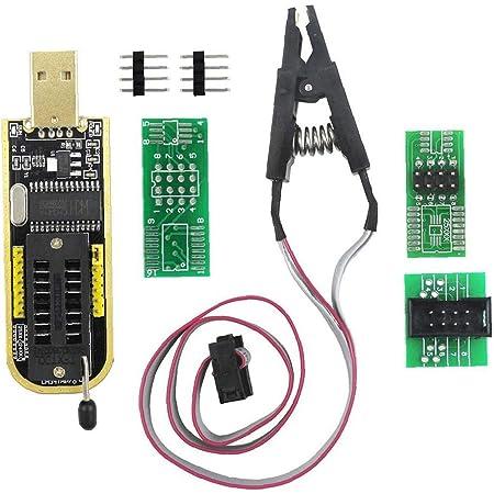 Odoukey Programador USB Ch341a con SOP Accesorios, Adecuado para la mayoría de la Serie 24 25 Eeprom Bios Chips