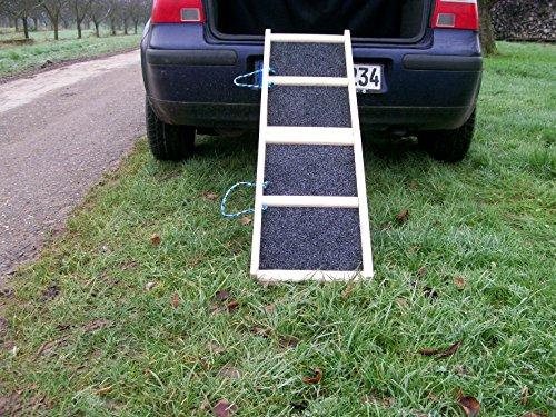 Easy-Hopper Hunderampe/Hundetreppe / Einstiegshilfe Standard Natur mit Rasenbelag
