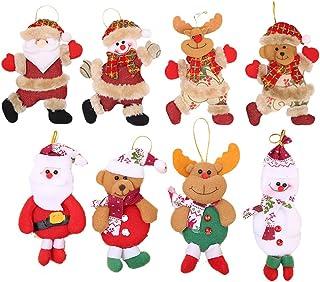 Flysee 8Piezas Adornos árbol Navidad Colgantes Muñecos Papá Noel Ornamentos de Navidad Decoración Fiesta Regalo Adornos Na...