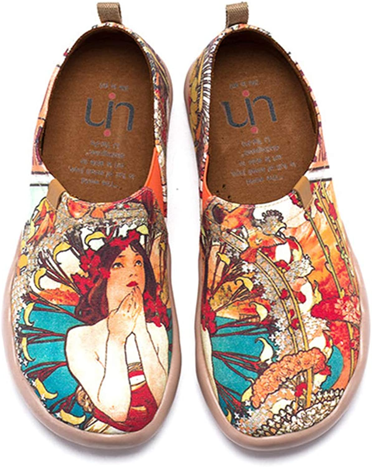 UIN Women's Monacan Girl Printed Canvas Walking shoes Multicolord